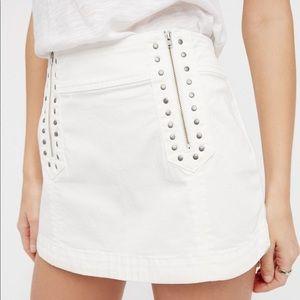 FREE PEOPLE Runaway Love Studded Zip Mini Skirt 8